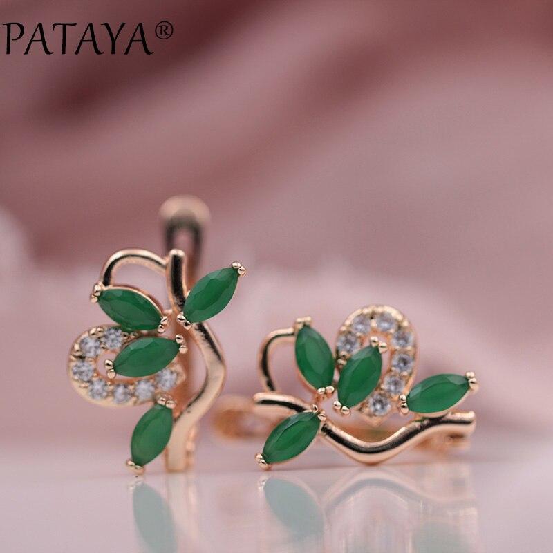PATAYA New RU Hot 585 Rose Gold Drop Earrings Symmetry Petal Natural Zircon Earrings Women Exquisite Jewelry Wedding Earrings