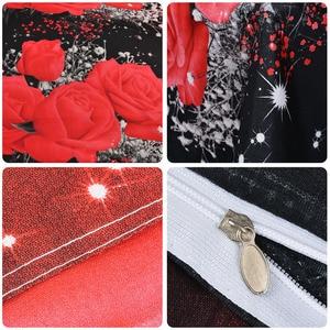 Image 3 - New Beautiful 3D Flower Rose Feast Pattern Bedding Set Bed sheets Duvet Cover Bed sheet Pillowcase 4pcs/set hot sale