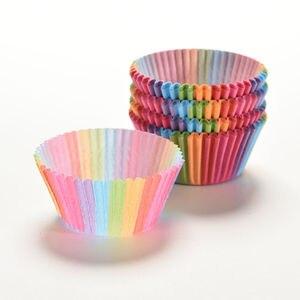 100 шт., бумажные обертки для кексов, радужные цвета, чашки для выпечки, ящики, коробки для кексов, инструменты для украшения тортов, кухонные п...
