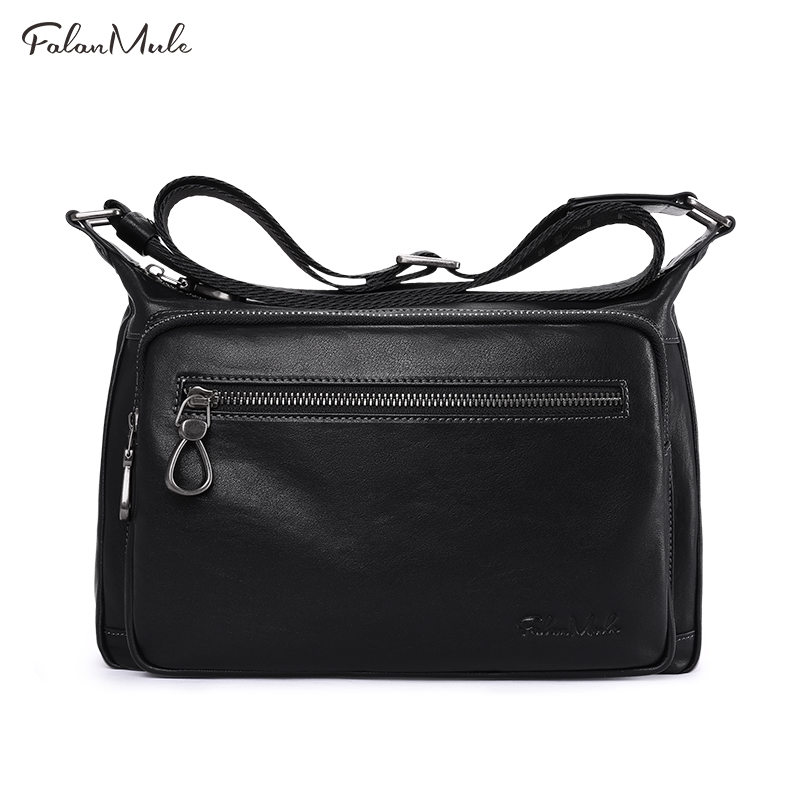 New Luxury Genuine Leather Bag Men Messenger Bags Handbag Briefcase Business Men Shoulder Bag Quality 2018 Black Crossbody