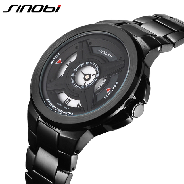 SINOBI 2016 Mens Watches Top Brand Metal Strap Black Silver Two Color Fashion Style Sport Watch Men Waterproof Relogio Masculino
