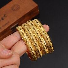 openable Dubai Gold Bangles 64*10mm width WomenMen 1pc Gold Bracelets African European Ethiopia girls Jewelry bride Bangles gift