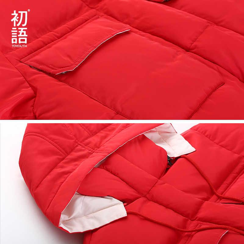 Toyouth пуховик с капюшоном длинные пальто пуховики для Для женщин зимние пуховые пальто плюс Размеры пальто утепленные повседневные длинные Abrigo Mujer