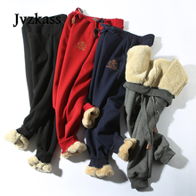 Jvzkass 2020 חורף כותנה מכנסיים מעוור טלה מכנסי טרנינג צמר מכנסי קזואל בתוספת קטיפה עיבוי מכנסיים גודל גדול מכנסיים נשים Z211
