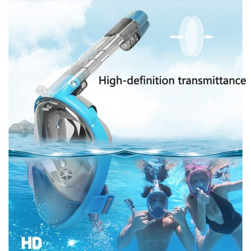 Профессиональная маска для подводного плавания, очки, полный сухой шноркель, близорукость, аксессуары для плавания, HD поле зрения, синий, дл