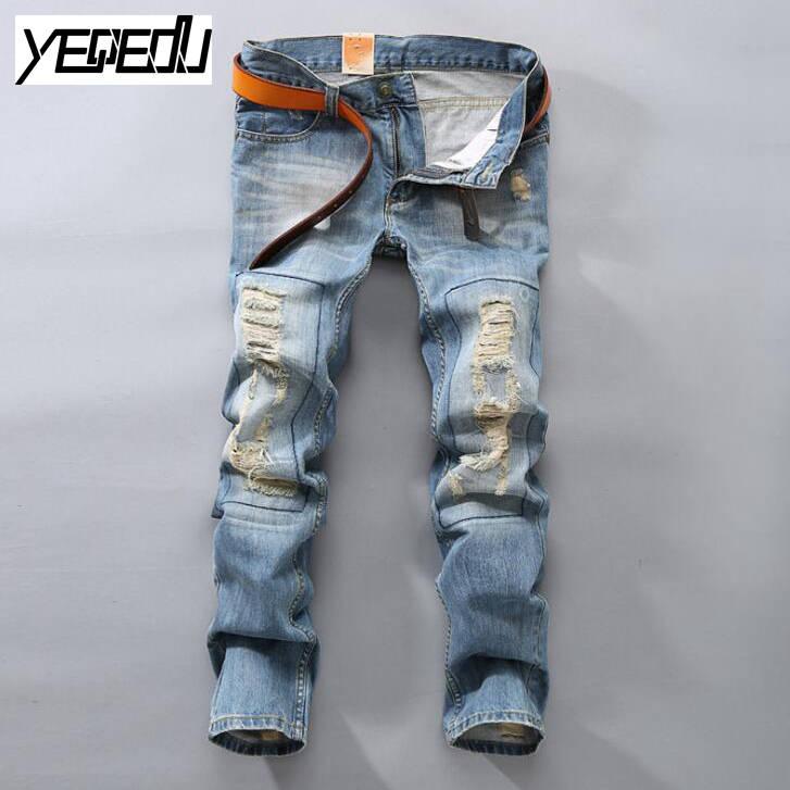 #3415 2017 Vintage Mens ripped jeans Hip hop jeans men Denim biker Pantalon homme Patches Designer jeans men high quality Skinny 2017 mens denim ripped jeans slim fit hip hop jogger pants men skinny biker jeans streetwear hole pantalon homme