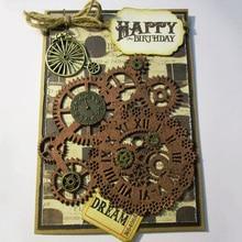 Matryce do cięcia metalu Steampunk Gear miłość słowo umiera Scrapbooking wózek tło Craft Die Cut na kartki diy