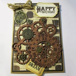 Image 1 - Metal Cutting Dies Steampunk Gear Love Word Dies Scrapbooking Trolley Background Craft Die Cut for DIY Paper Card