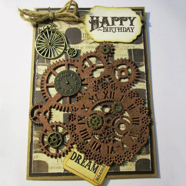 Metal Cutting Dies Steampunk Gear Love Word Dies Scrapbooking Trolley Background Craft Die Cut for DIY Paper Card