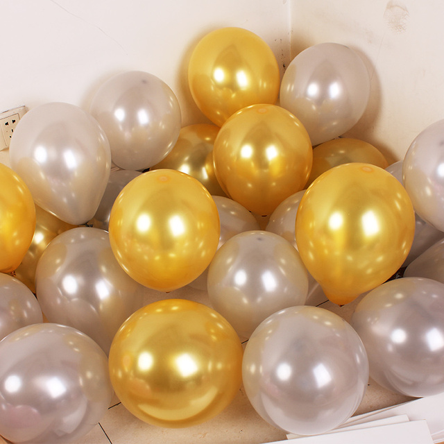 """20 50 pcs/lot 10"""" 1.5g mix Colorful Pearl Gold White Latex Balloon Celebration Wedding Decorations Happy Birthday Party Supplies"""
