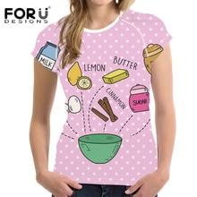 FORUDESIGNS Fashion Short Sleeve T Shirt Women Diet Print Creative Design Tee Shirt Female Fashion Tops for Teen Girl Kawaii Tee lace panel sleeve girl print tee