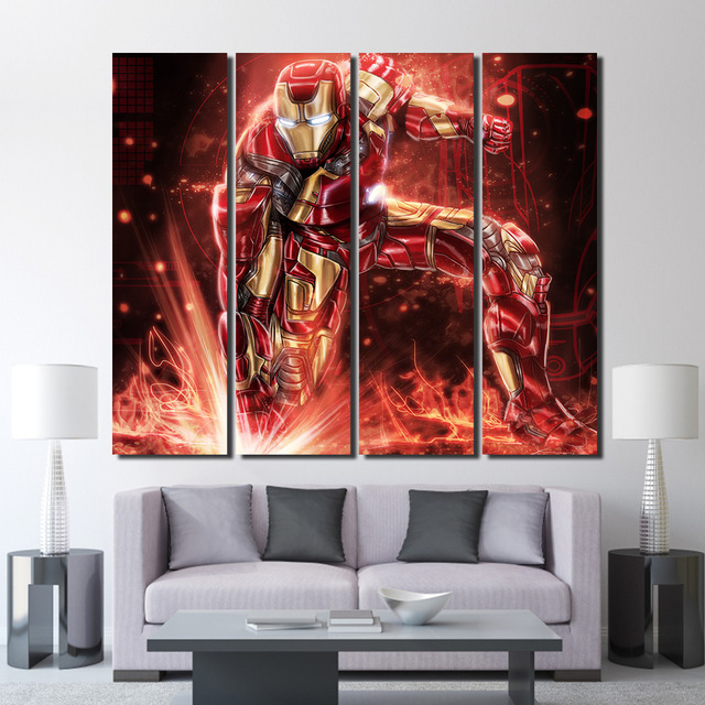 4 Pieces Red Robot Iron Man Wall Art Canvas Pictures For Living Room Bedroom Home Decor Printed Paintings