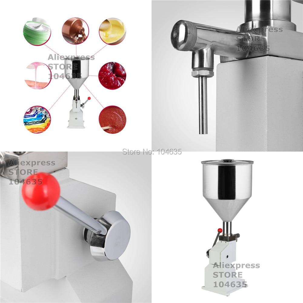 Бесплатная доставка Еда автомат розлива ручной давления из нержавеющей пасты жидкости упаковочная оборудование продается крем машина 1-50 м...