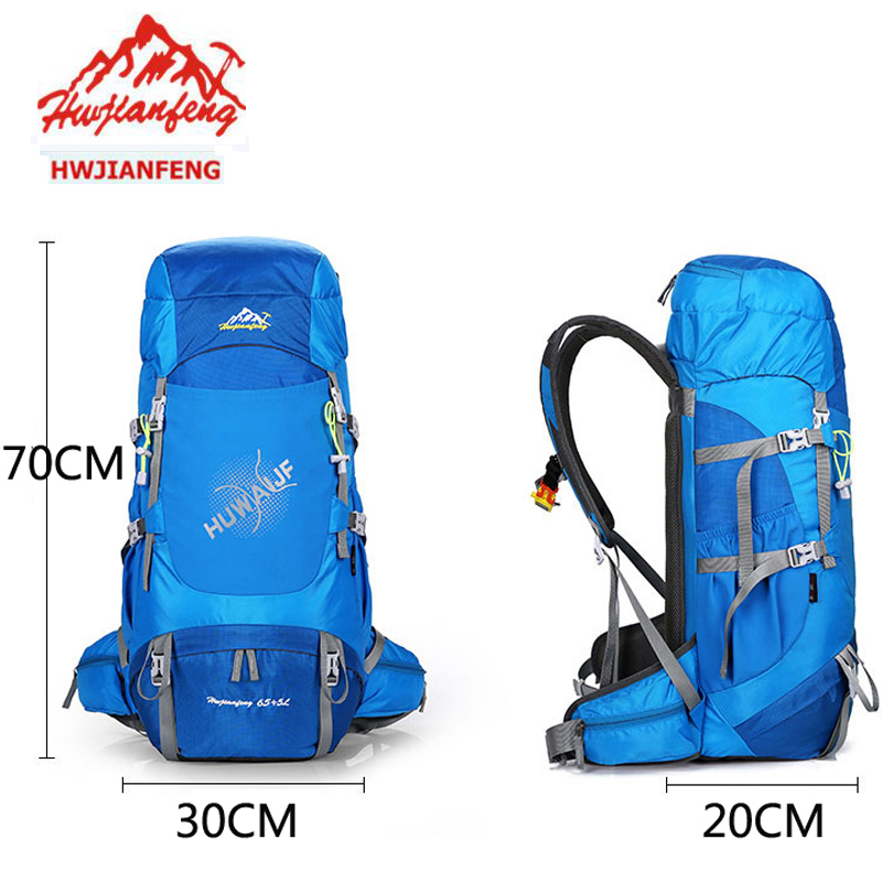 70L Backpack Camping Hiking Travel Backpack Large Outdoor Sports Mountaineering Bag Waterproof Climbing Rucksack With Rain Cover
