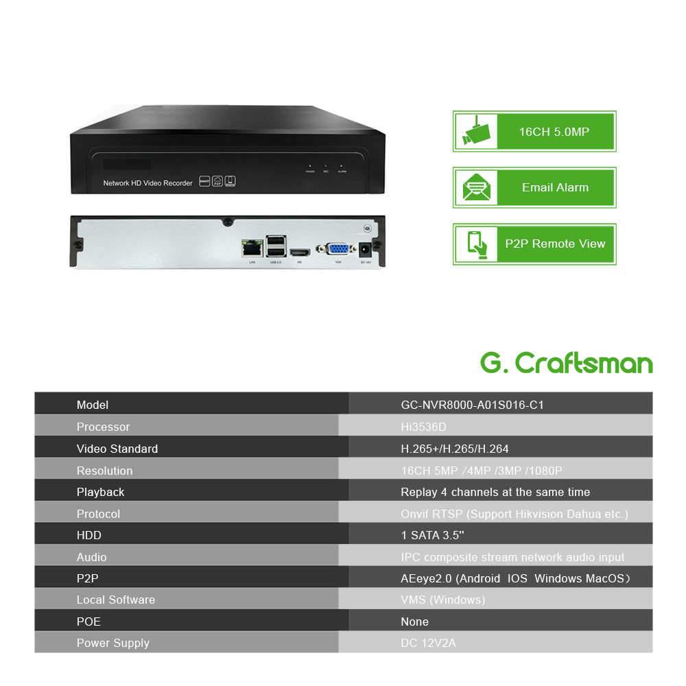 G.Ccraftsman 16ch 5MP H.265 NVR Network Video Recorder 1 HDD 24/7 Recording IP Camera Onvif 2.6 P2P Security System AEeye-in Surveillance Video Recorder from Security & Protection    2