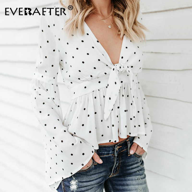 EVERAFTER Sexy deep V polka dot print cotton linen blouse women ruched bandage elegant tops tee 2019 autumn mujer female blouses in Blouses amp Shirts from Women 39 s Clothing
