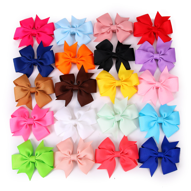 3 Inch 20 Colors Optional Grosgrain Ribbon Hairpins  Girls Bows WITH CLIP Boutique Pinwheel Hair Clips Kids Hair Accessories