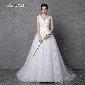 Image 2 - שמלת כלה עם נתיק חצאית אשליה תחרה חזרה שני דרך ארוך קצר במפעל מותאם אישית להפוך Vestidos Casamento