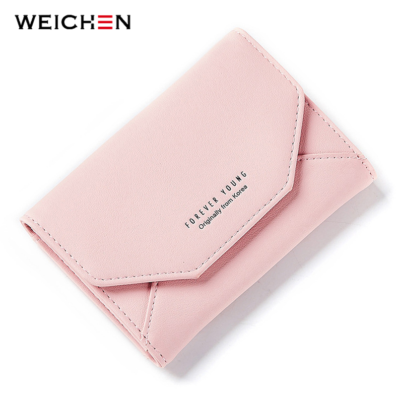WEICHEN Women Small Wallet Card Holder In Back Coin Purses Female Slim Purse Ladies Wallet Carteira