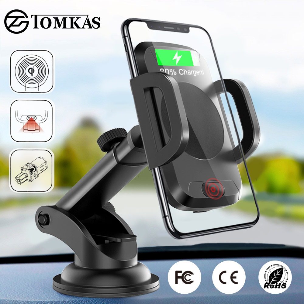 TOMKAS Qi Wireless Car Charger Infrared Sensor Fast