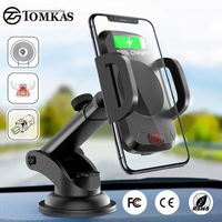 TOMKAS Qi Wireless Car Charger Infrared Sensor Fast Charger Wireless Charging For Phone Automatic Induction Wireless Car Charger