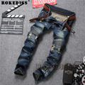 hip hop baggy jeans Spring and Autumn 2017 The New fashion Tide male Splicing Slim Straight pants Ink locomotive trousers C173