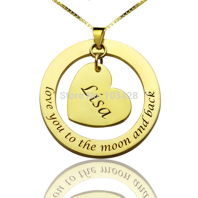 Anniversary Necklace Personalized Name Necklace Gold Color Heart Necklace Love You to the Moon and Back Love Girlfriend Necklace