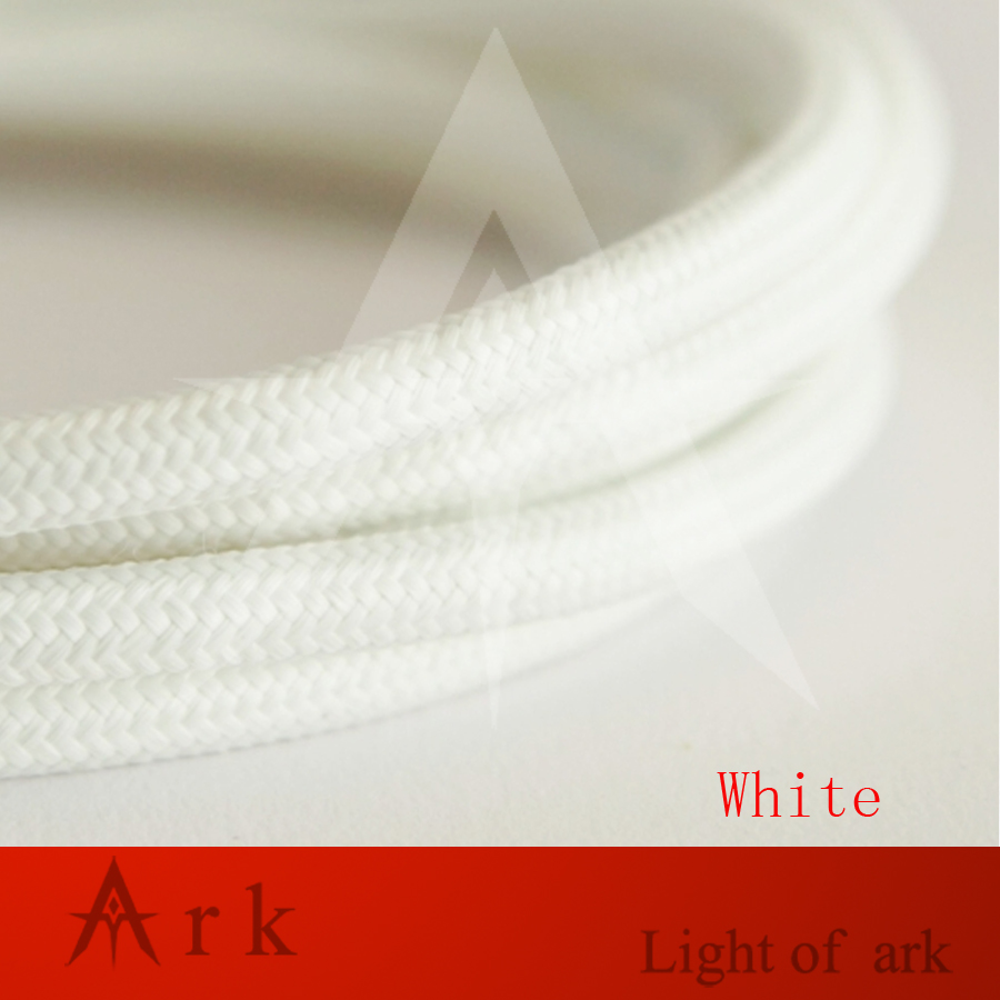 2*0.75 White Edison Textile Cable Fabric Wire Chandelier Pendant Lamp Wires Braided Cloth Electrical Cable Vintage Lamp Cord