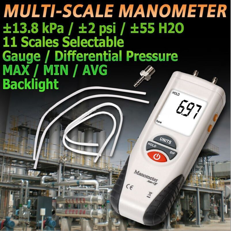 HT-1890 High Performance Manometer gauge/Digital Manometer Air Pressure Meter Gauge Kit + Case+Retail Box r134a single refrigeration pressure gauge code 1503 including high and low