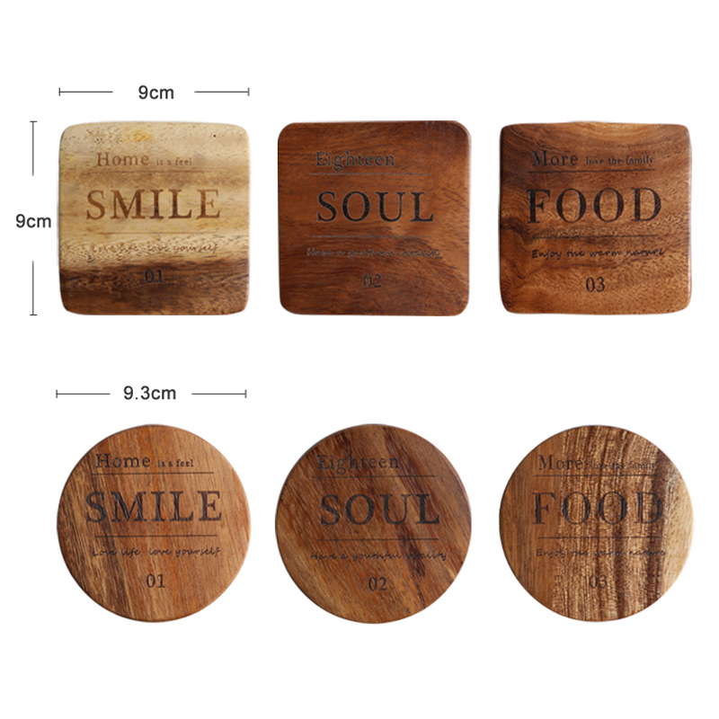 1pc Mug Round Square Wood Cup Coaster Table Mat Cup Pads