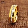 6 MM acero inoxidable chapado en oro anillo de la venda CZ del embutido hombres mujeres anillos de boda de novia tamaño 5-11