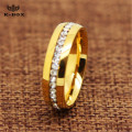 6MM Stainless Steel Gold Plated Ring Band CZ Inlay Men Women Bridal Wedding Ring Size 5-11
