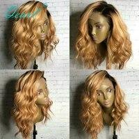 Малый Кепки парики, кружева 150% плотность боковой части Реми Ombre человеческих волос предварительно сорвал естественно волосяного покрова во
