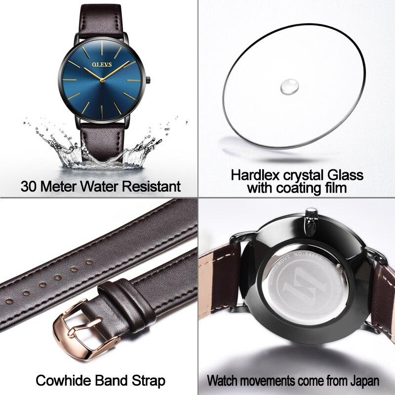 Men Watches 2017 luxury brand Olevs quartz leather minimalist Black strap Ultrathin Wristwatches Waterproof High Quality Relogio