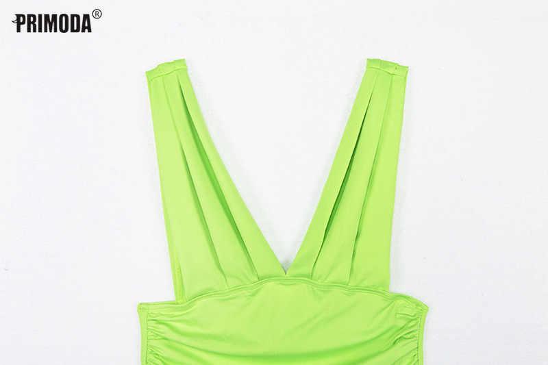 Неоновые обтягивающие новые летние люминесцентные зеленые боди сексуальный клубный бодикон комбинезоны с открытой спиной v-образным вырезом женские вечерние топы