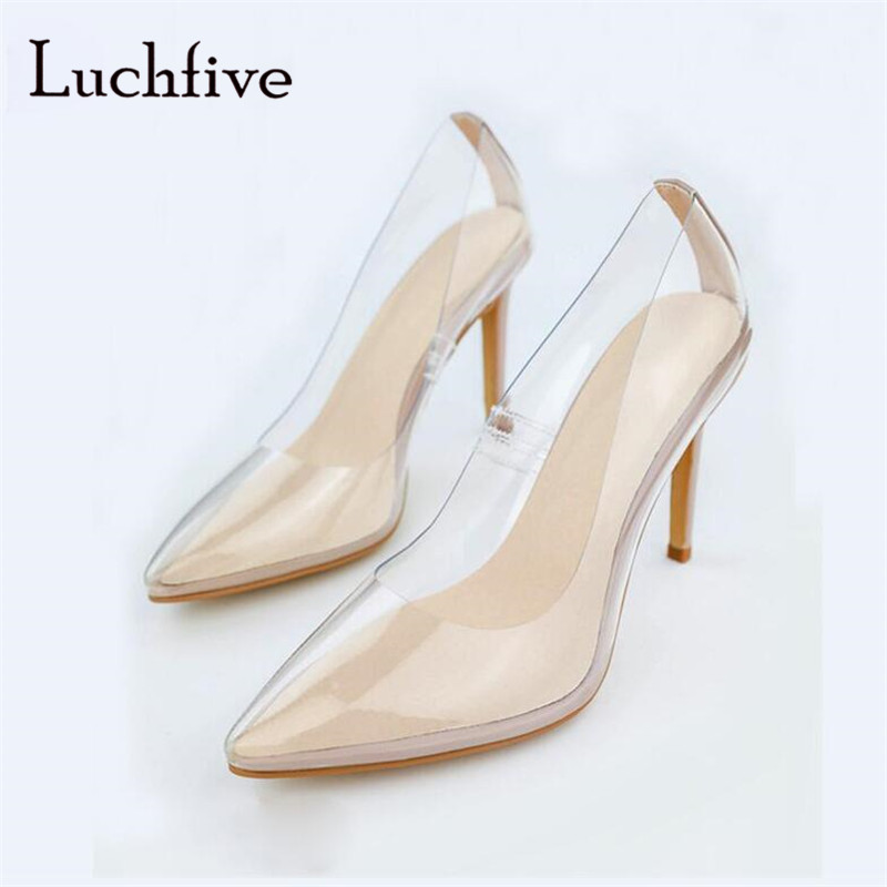 Transparent thin high heels women pumps genuine leather pointed toe shoes women shallow slip on black blue zapatos mujer цена