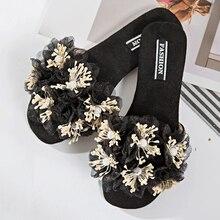 Moxxy Female fashion Summer soft flats sandals Camellia Flower Sweet Flip Flops Beautiful flower summer outdoor Slippers