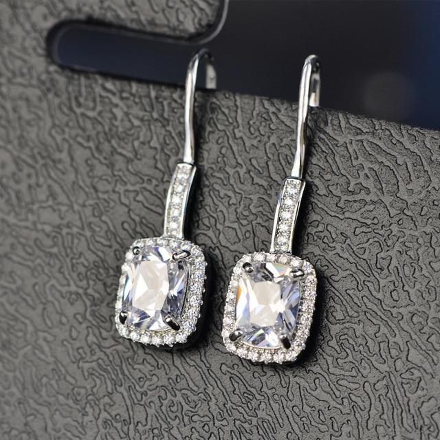 925 Sterling Silver Emerald Citrine Sapphire Gems Drop Dangle Hook Earrings  3