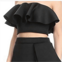 Summer Cropped Tops Tank for Women Off Shoulder Backless with Zipper Black Ruffle Tube Tops Shirts Backless Sexy Blusa Strapless(China)