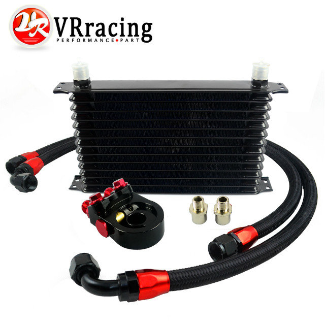 VR - Universal 13 ROWS Trust type OIL COOLER + AN10 Oil Sandwich Plate Adapter with Thermostat + 2PCS NYLON BRAIDED HOSE LINE