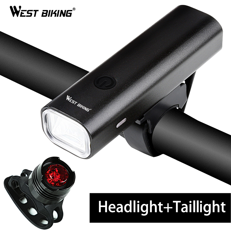 WEST BIKING Professional Bike Light Waterproof 200 Lumens USB Rechargeable Bright Headlamp With Warnning Taillight Cycling Light west biking taillight rechargeable 7 models smart usb waterproof ce rhos fcc msds certification cycling bike bicycle tail light