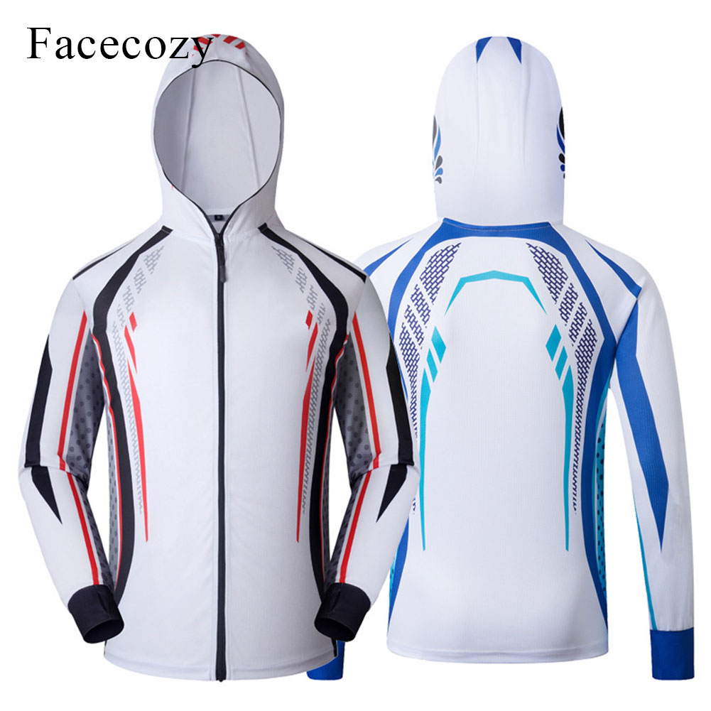 Faceoczy Summer Breathable Quick Dry Fishing Jacket Men Printing Sport Coat Thin Zip Hoodies Cycling Camping Gym Fishing Jackets