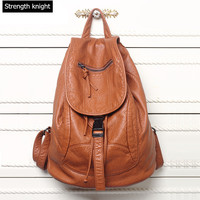 New Designer Washed Leather Bag High Grade Leather Backpacks Bolsos Mujer Retro Backpack Shoulder Bag For
