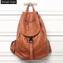 Новые дизайнерские мыть кожаная сумка полноценно кожи женщин Рюкзаки Bolsos Mujer школьный рюкзак для девочек Дорожная сумка рюкзак