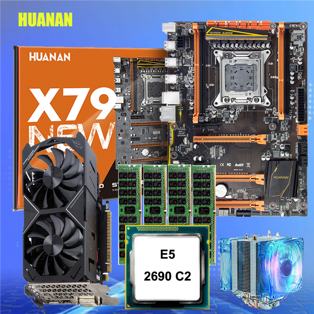 Marca HUANAN ZHI deluxe slot barato motherboard CPU Xeon motherboard gaming com M.2 X79 E5 2690 RAM 64G vídeo cartão GTX1050ti 4G