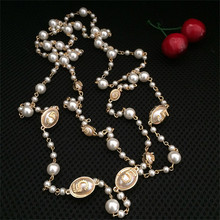 CX-Shirling Luxurious Necklace Jewelry Girl Long Pearl Letter 5 Mulity Layers Bijouter CC Style Necklaces Collier femme