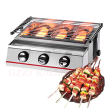 Barbecue LPG Gas Grill BBQ 3 Burners Smokeless Environmental With Stainless Steel Or Glass Shield