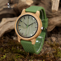 BOBO BIRD Bamboo Watches Silicone Strap Men And Women JAPAN Move 2035 Quartz Wooden Writwatches Relogio