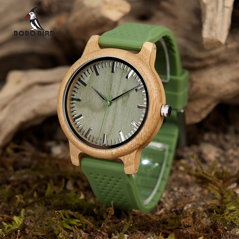 BOBO BIRD Brand Bamboo Watches for Men and Women Silicone Strap Wooden Writwatches Ideal Gifts Items Relogio Masculino C-B06
