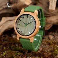 BOBO BIRD Bamboo Watches Silicone Strap Men And Women JAPAN Move 2035 Quartz Wooden Writwatches Relogio